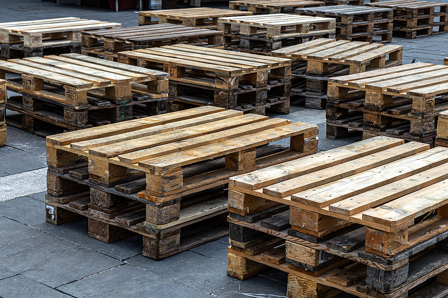wooden pallet for packaging placed in the square